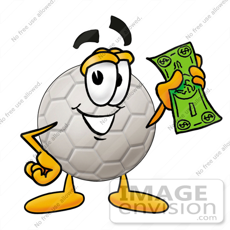 #25215 Clip Art Graphic of a White Soccer Ball Cartoon Character Holding a Dollar Bill by toons4biz