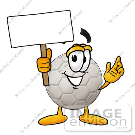 #25217 Clip Art Graphic of a White Soccer Ball Cartoon Character Holding a Blank Sign by toons4biz