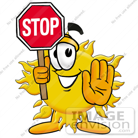 #25231 Clip Art Graphic of a Yellow Sun Cartoon Character Holding a Stop Sign by toons4biz
