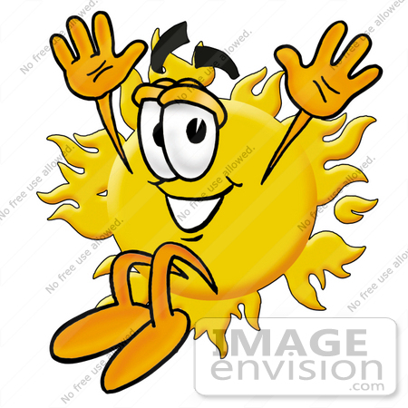 #25248 Clip Art Graphic of a Yellow Sun Cartoon Character Jumping by toons4biz