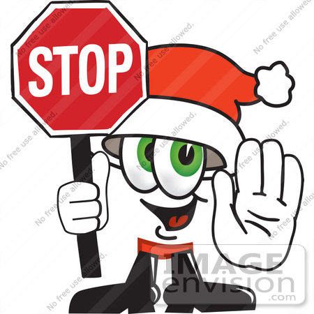 #25262 Clip Art Graphic of a Santa Claus Cartoon Character Holding a Stop Sign by toons4biz