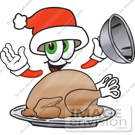 #25263 Clip Art Graphic of a Santa Claus Cartoon Character Serving a Thanksgiving Turkey on a Platter by toons4biz