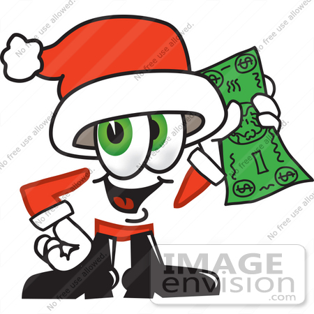 #25266 Clip Art Graphic of a Santa Claus Cartoon Character Holding a Dollar Bill by toons4biz