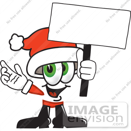 #25270 Clip Art Graphic of a Santa Claus Cartoon Character Holding a Blank Sign by toons4biz