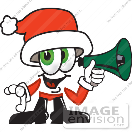 #25272 Clip Art Graphic of a Santa Claus Cartoon Character Holding a Megaphone by toons4biz