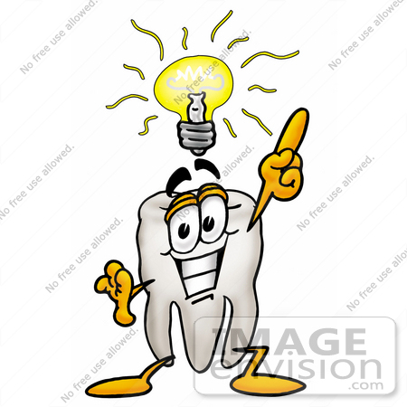 #25312 Clip Art Graphic of a Human Molar Tooth Character With a Bright Idea by toons4biz