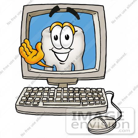 #25332 Clip Art Graphic of a Human Molar Tooth Character Waving From Inside a Computer Screen by toons4biz