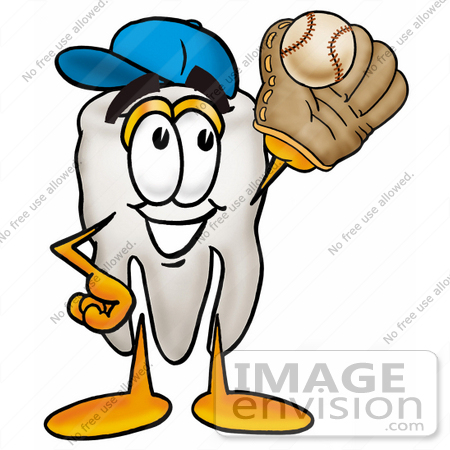 #25333 Clip Art Graphic of a Human Molar Tooth Character Catching a Baseball With a Glove by toons4biz