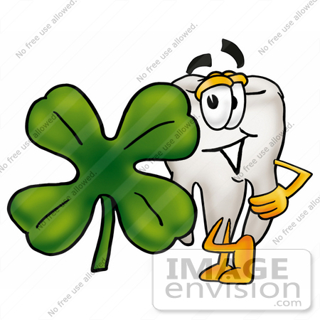 #25334 Clip Art Graphic of a Human Molar Tooth Character With a Green Four Leaf Clover on St Paddy's or St Patricks Day by toons4biz