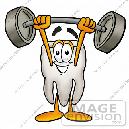 #25340 Clip Art Graphic of a Human Molar Tooth Character Holding a Heavy Barbell Above His Head by toons4biz