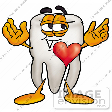 #25367 Clip Art Graphic of a Human Molar Tooth Character With His Heart Beating Out of His Chest by toons4biz