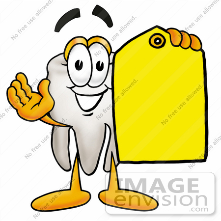 #25381 Clip Art Graphic of a Human Molar Tooth Character Holding a Yellow Sales Price Tag by toons4biz