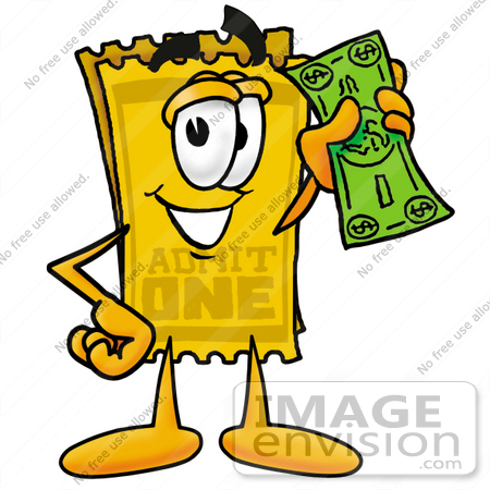 clip art graphic of a golden admission ticket character holding a rh imageenvision com clip art ticket stub free clipart ticket stub