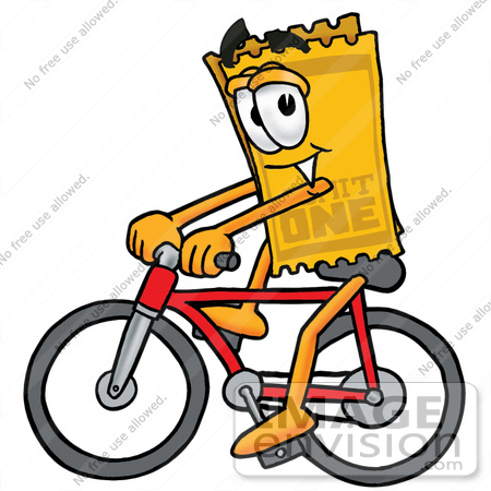 #25400 Clip Art Graphic of a Golden Admission Ticket Character Riding a Bicycle by toons4biz