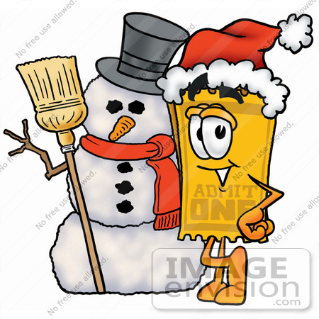 #25411 Clip Art Graphic of a Golden Admission Ticket Character With a Snowman on Christmas by toons4biz