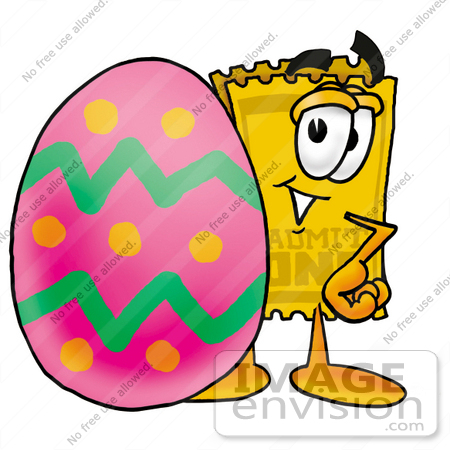 #25417 Clip Art Graphic of a Golden Admission Ticket Character Standing Beside an Easter Egg by toons4biz