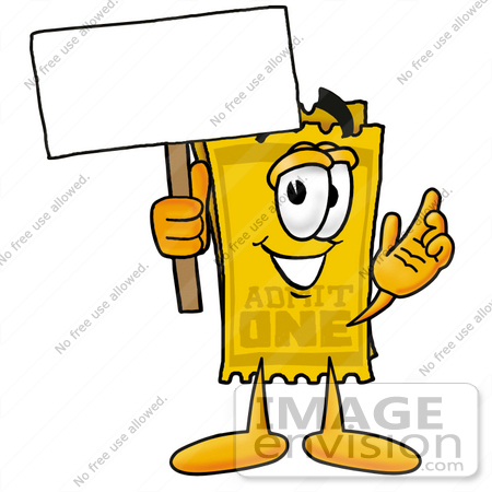 #25423 Clip Art Graphic of a Golden Admission Ticket Character Holding a Blank Sign by toons4biz
