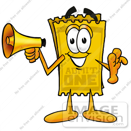 #25429 Clip Art Graphic of a Golden Admission Ticket Character Holding a Megaphone by toons4biz
