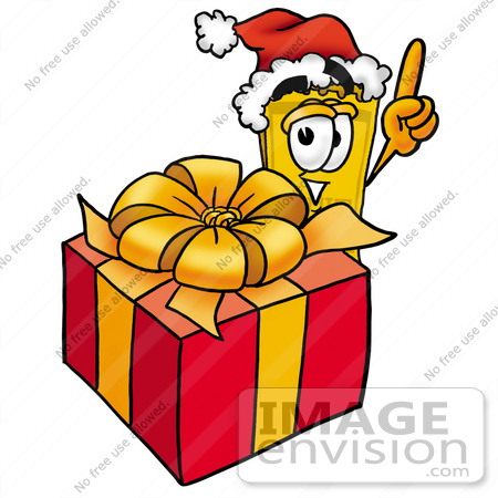 #25434 Clip Art Graphic of a Golden Admission Ticket Character Standing by a Christmas Present by toons4biz