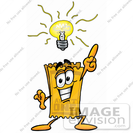 #25436 Clip Art Graphic of a Golden Admission Ticket Character With a Bright Idea by toons4biz