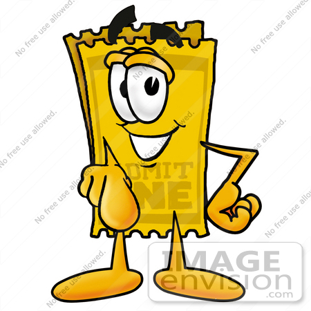#25438 Clip Art Graphic of a Golden Admission Ticket Character Pointing at the Viewer by toons4biz