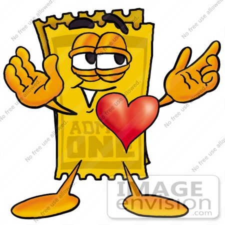 #25439 Clip Art Graphic of a Golden Admission Ticket Character With His Heart Beating Out of His Chest by toons4biz