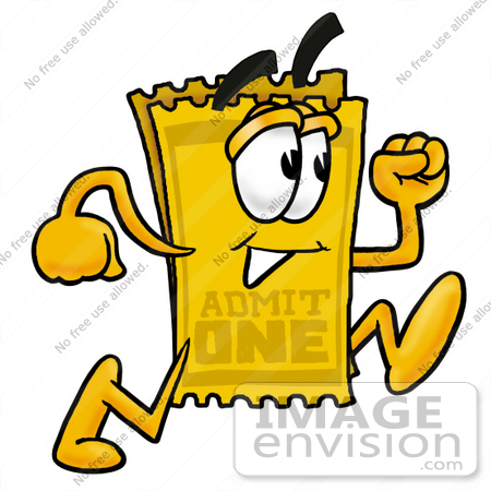 #25443 Clip Art Graphic of a Golden Admission Ticket Character Running by toons4biz