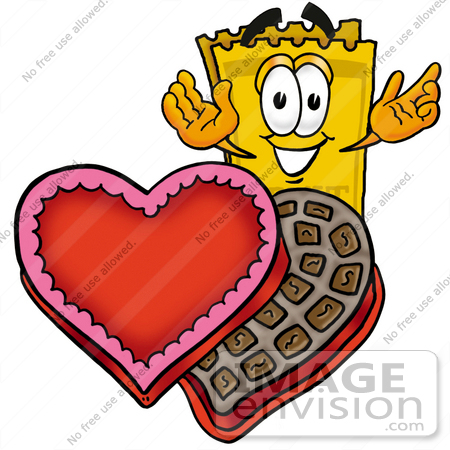 #25445 Clip Art Graphic of a Golden Admission Ticket Character With an Open Box of Valentines Day Chocolate Candies by toons4biz
