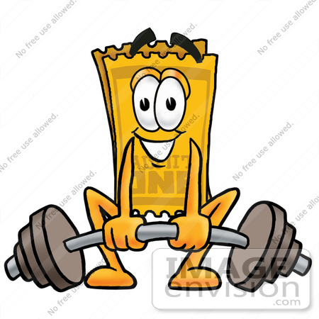 #25447 Clip Art Graphic of a Golden Admission Ticket Character Lifting a Heavy Barbell by toons4biz