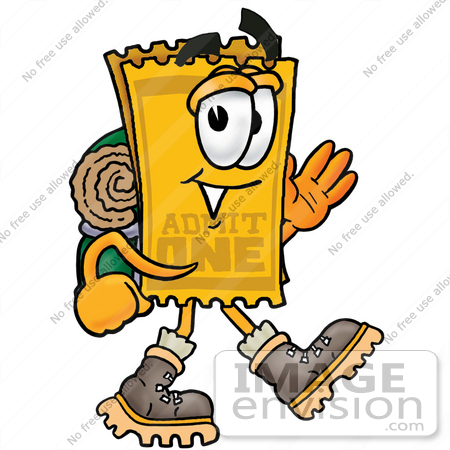 #25453 Clip Art Graphic of a Golden Admission Ticket Character Hiking and Carrying a Backpack by toons4biz