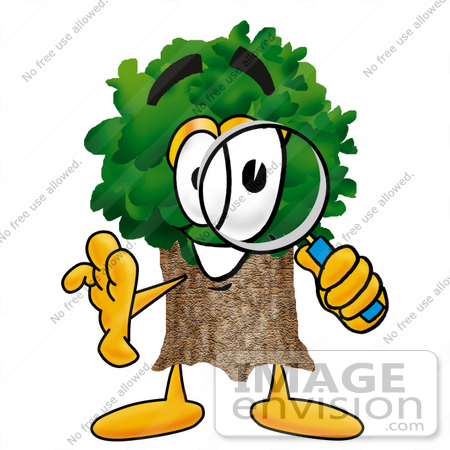 clip art graphic of a tree character looking through a magnifying rh imageenvision com