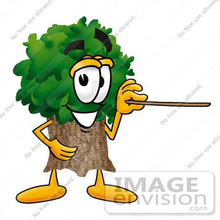 #25461 Clip Art Graphic of a Tree Character Holding a Pointer Stick by toons4biz