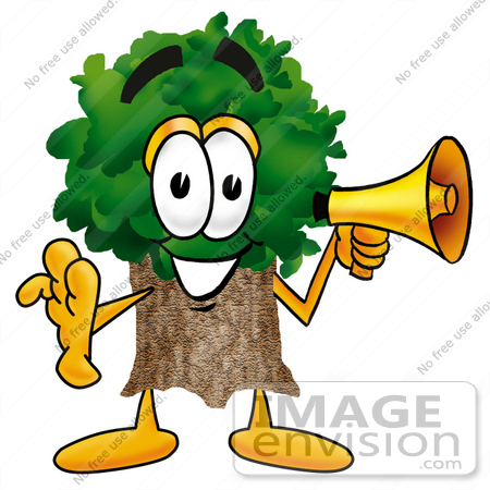 #25473 Clip Art Graphic of a Tree Character Holding a Megaphone by toons4biz