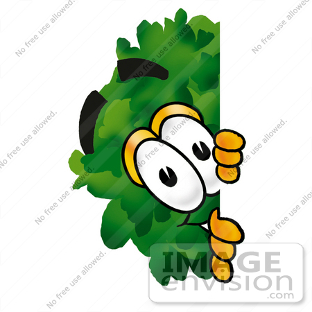 #25474 Clip Art Graphic of a Tree Character Peeking Around a Corner by toons4biz