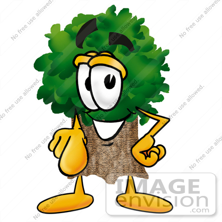#25477 Clip Art Graphic of a Tree Character Pointing at the Viewer by toons4biz