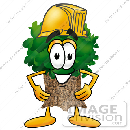 #25483 Clip Art Graphic of a Tree Character Wearing a Hardhat Helmet by toons4biz