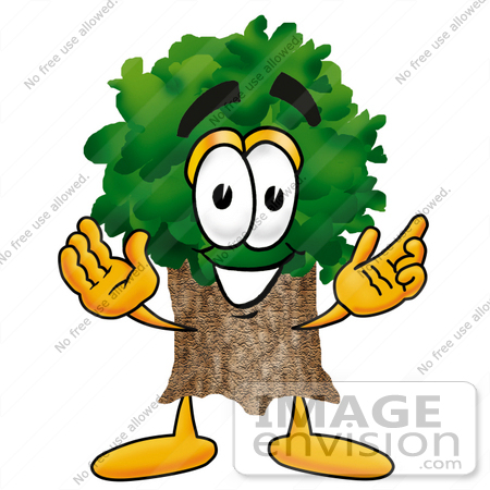 #25484 Clip Art Graphic of a Tree Character With Welcoming Open Arms by toons4biz