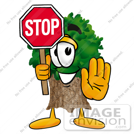 #25485 Clip Art Graphic of a Tree Character Holding a Stop Sign by toons4biz
