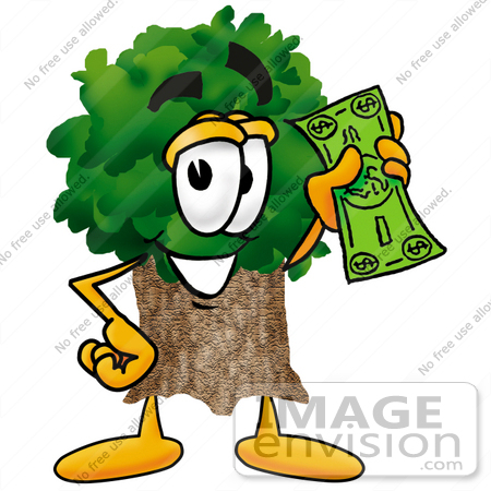 #25487 Clip Art Graphic of a Tree Character Holding a Dollar Bill by toons4biz