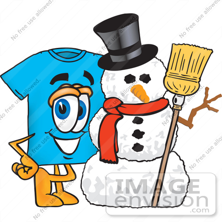#25490 Clip Art Graphic of a Blue Short Sleeved T Shirt Character With a Snowman on Christmas by toons4biz