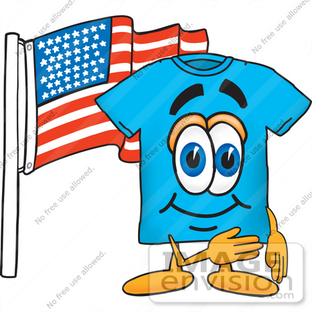 #25491 Clip Art Graphic of a Blue Short Sleeved T Shirt Character Pledging Allegiance to an American Flag by toons4biz