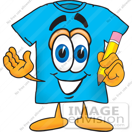 00d749472 #25493 Clip Art Graphic of a Blue Short Sleeved T Shirt Character Holding a  Pencil
