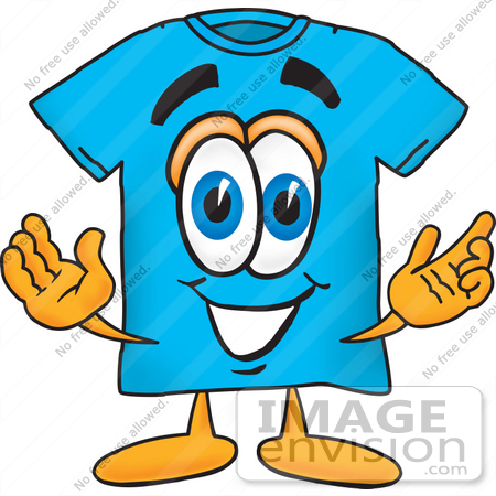 Clip Art Graphic of a Blue Short Sleeved T Shirt Character With ...