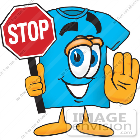 #25502 Clip Art Graphic of a Blue Short Sleeved T Shirt Character Holding a Stop Sign by toons4biz