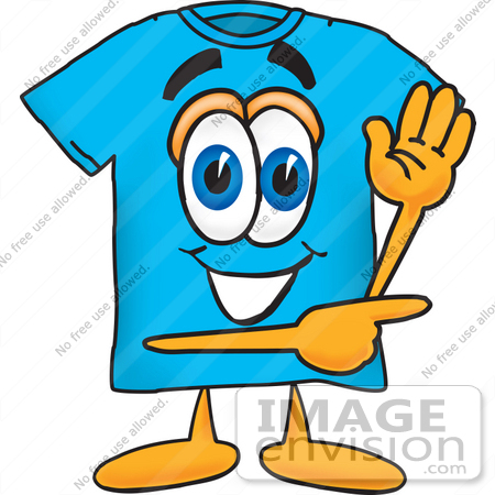 #25505 Clip Art Graphic of a Blue Short Sleeved T Shirt Character Waving and Pointing by toons4biz