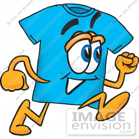 #25507 Clip Art Graphic of a Blue Short Sleeved T Shirt Character Running by toons4biz