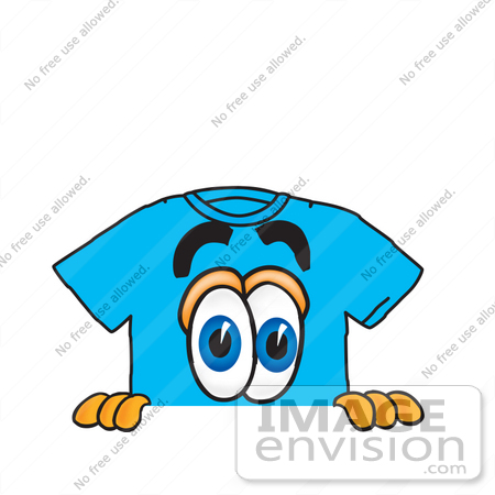 #25518 Clip Art Graphic of a Blue Short Sleeved T Shirt Character Peeking Over a Surface by toons4biz