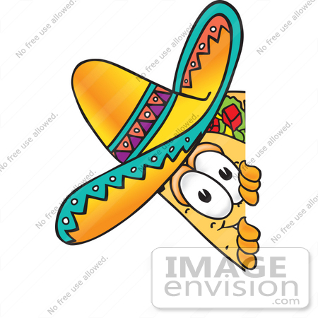 #25524 Clip Art Graphic of a Crunchy Hard Taco Character Peeking Around a Corner by toons4biz