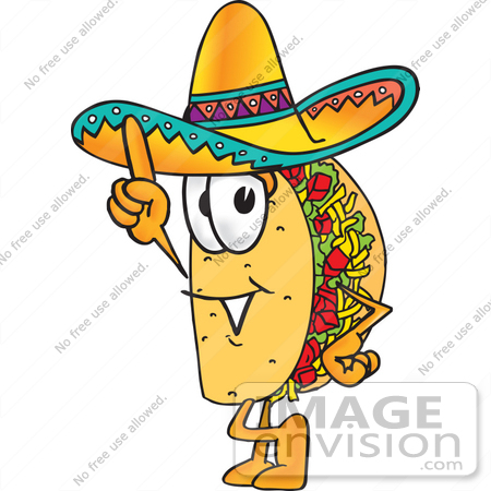 #25530 Clip Art Graphic of a Crunchy Hard Taco Character Pointing Upwards by toons4biz