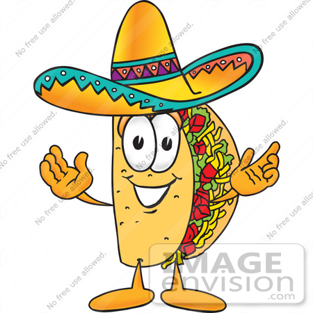 #25532 Clip Art Graphic of a Crunchy Hard Taco Character With Welcoming Open Arms by toons4biz